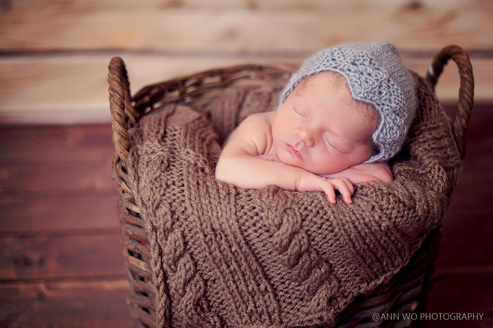 newborn photography rustic basket vintage grey knitted bonnet