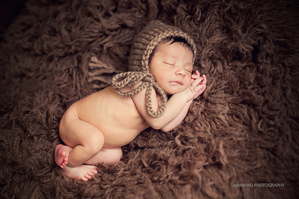 newborn baby boy light brown knitted pixie hat